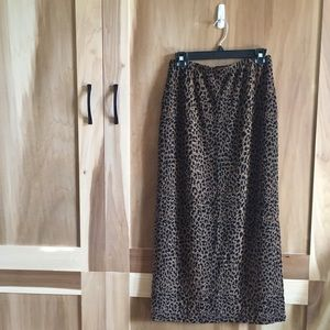Animal Print Slinky Stretchy Pencil Midi Skirt